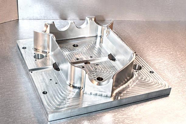 Industrial metal mold blank. Metalworking. CNC milling technology. Mechanical engineering