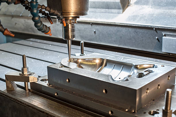 Industrial metal mold/blank milling. Metalworking. Lathe and drilling industry. CNC technology.